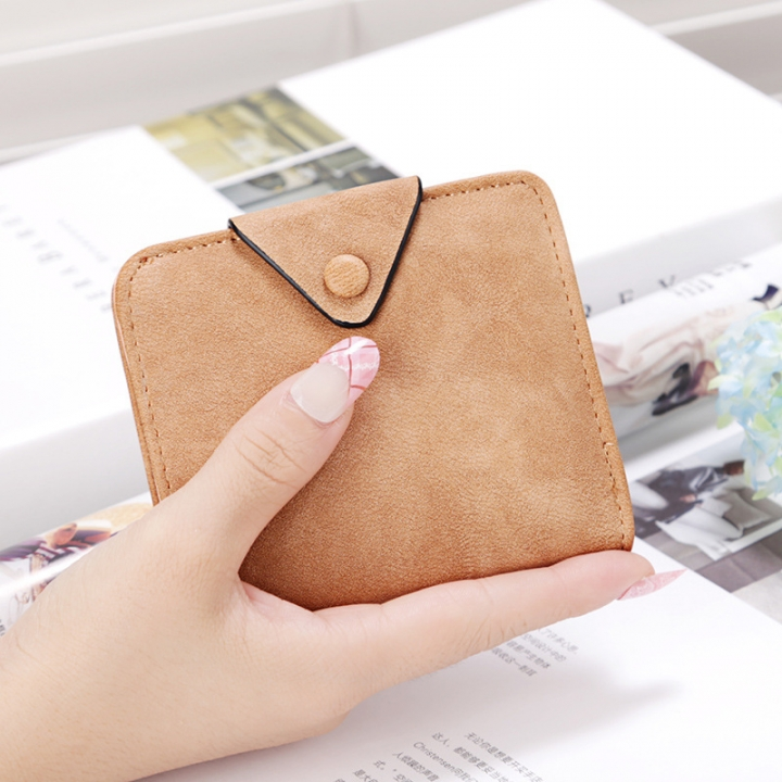 The New Wallet Short Section Scrub Buckle Female Coin Purse Two Fold Wallet Fashion Wallet brown one size