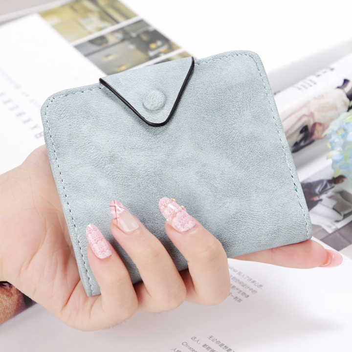 The New Wallet Short Section Scrub Buckle Female Coin Purse Two Fold Wallet Fashion Wallet ligth green one size