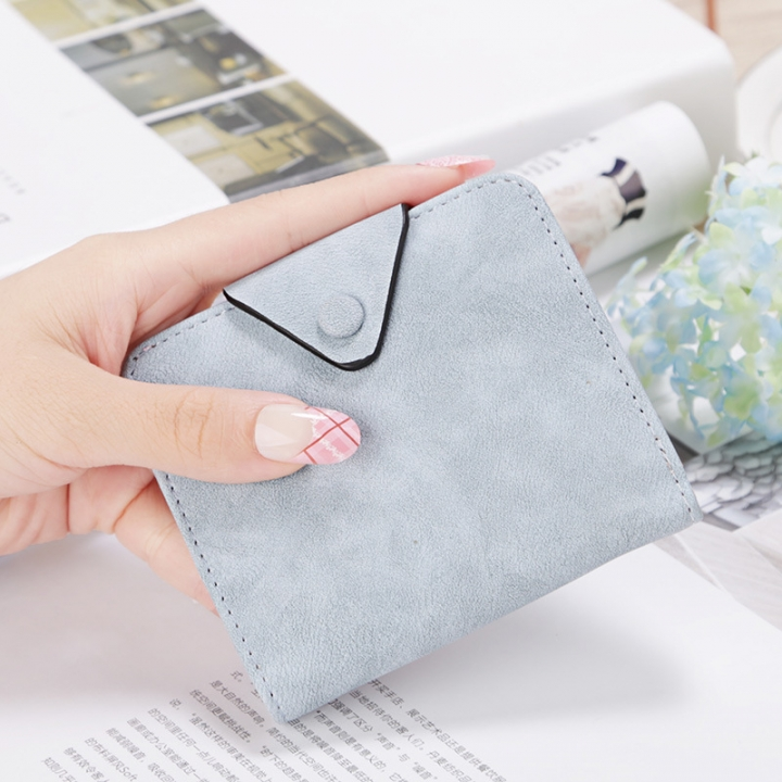 The New Wallet Short Section Scrub Buckle Female Coin Purse Two Fold Wallet Fashion Wallet ligth blue one size