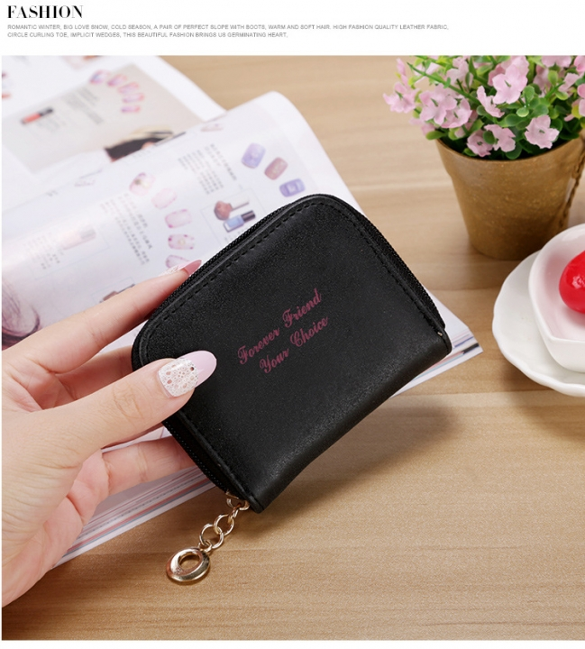 Ms wallet Short section Simple Scrub Wallet Female student fashion Coin Purse black one size