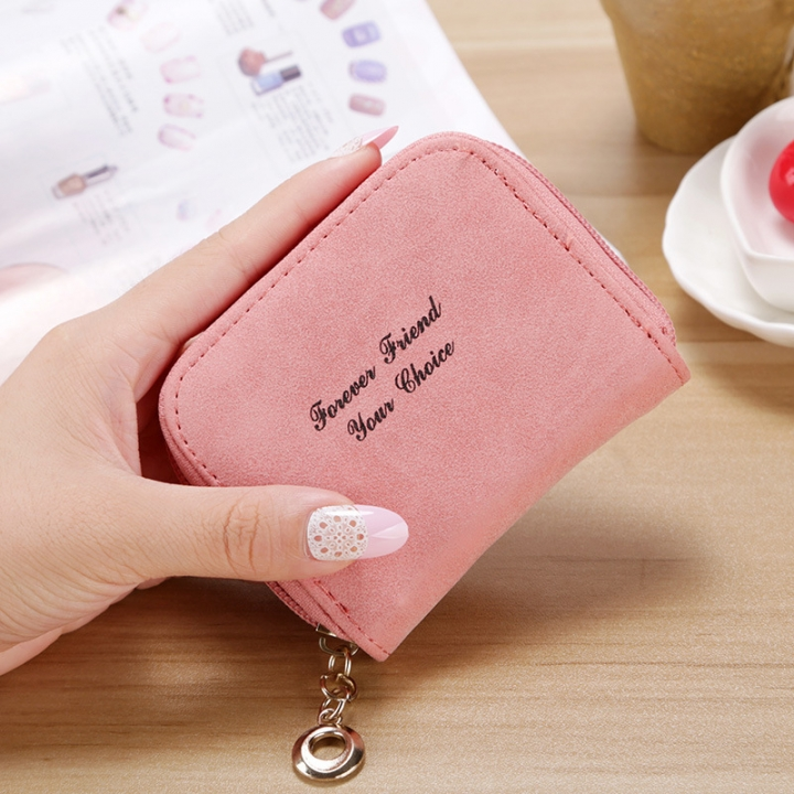 Ms wallet Short section Simple Scrub Wallet Female student fashion Coin Purse pink one size