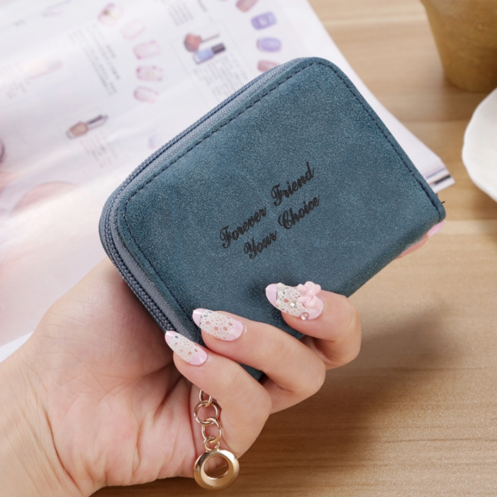 Ms wallet Short section Simple Scrub Wallet Female student fashion Coin Purse dark blue one size