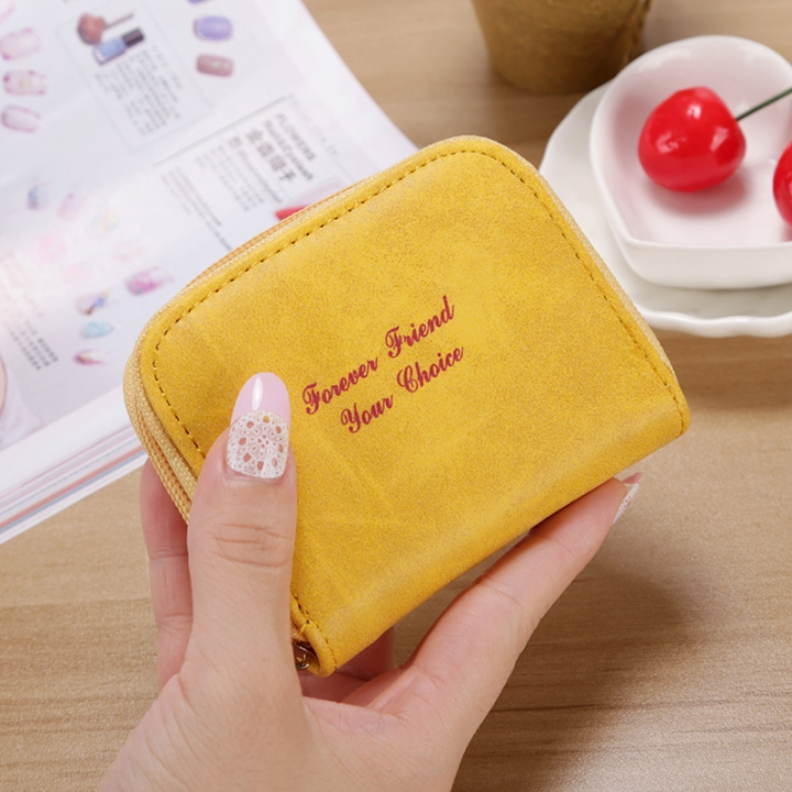 Ms wallet Short section Simple Scrub Wallet Female student fashion Coin Purse yellow one size
