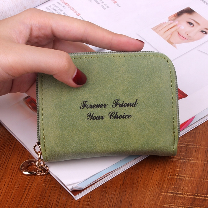 Ms wallet Short section Simple Scrub Wallet Female student fashion Coin Purse green one size