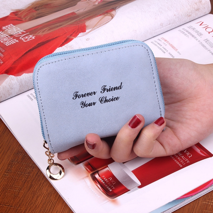 Ms wallet Short section Simple Scrub Wallet Female student fashion Coin Purse ligth blue one size