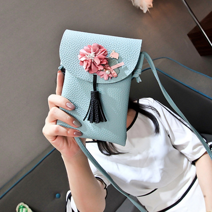 The New Lady bags Shoulder Bags Simple fashion Mobile phone bag Retro Ms Messenger bag blue one size