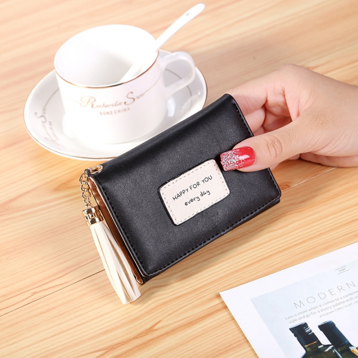 Ms Short Section Wallet Tassel Three Fold Lovely Student Wallet Small Fresh Card Pack black one size