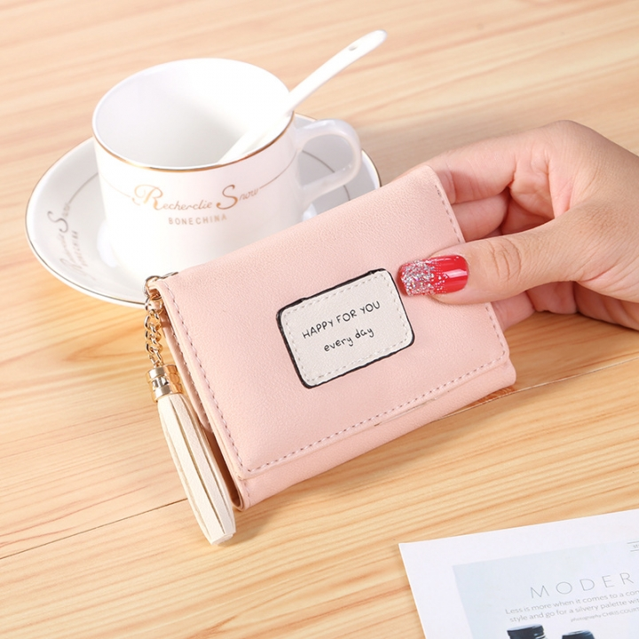 Ms Short Section Wallet Tassel Three Fold Lovely Student Wallet Small Fresh Card Pack pink one size
