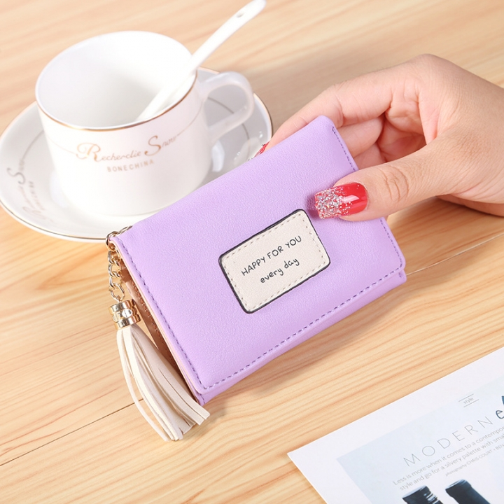 Ms Short Section Wallet Tassel Three Fold Lovely Student Wallet Small Fresh Card Pack purple one size