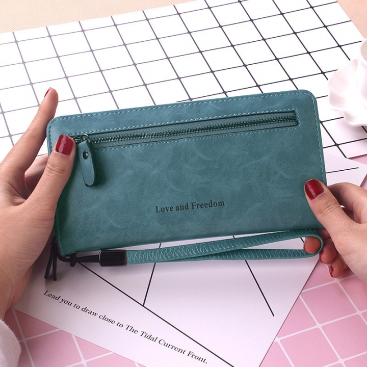 Ms Wallet Twists And Turns Hand Bag Zipper Multifunction Retro Simple High Capacity Wallet sky blue one size
