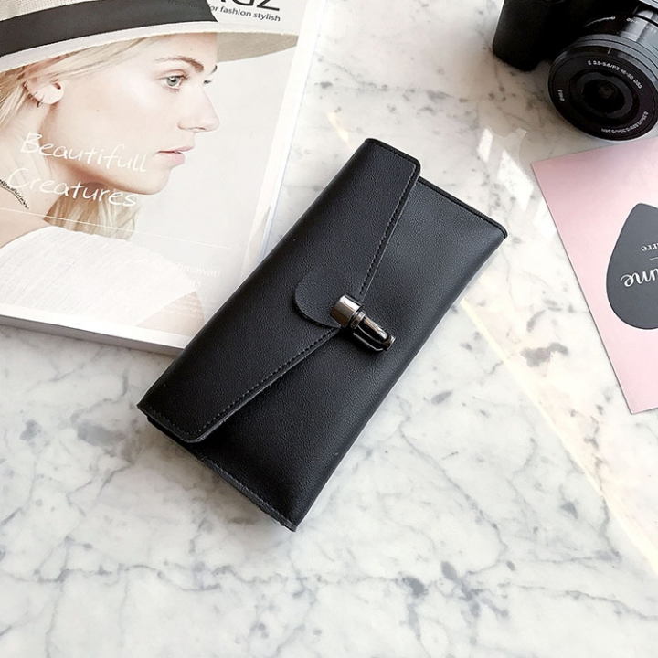PU Leather Wallet Ms Long Section Fashion Personality Ultra Thin Simple Soft Skin Buckle Wallet black one size
