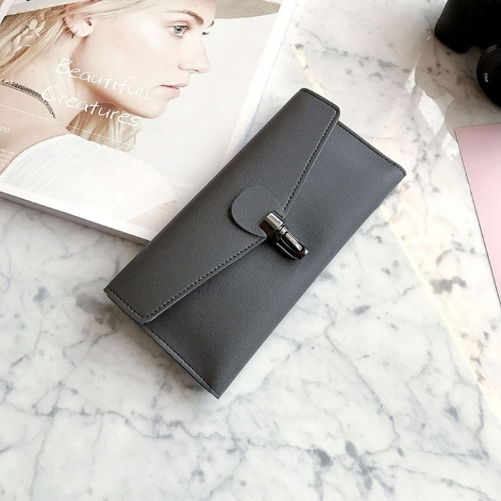 PU Leather Wallet Ms Long Section Fashion Personality Ultra Thin Simple Soft Skin Buckle Wallet gray one size