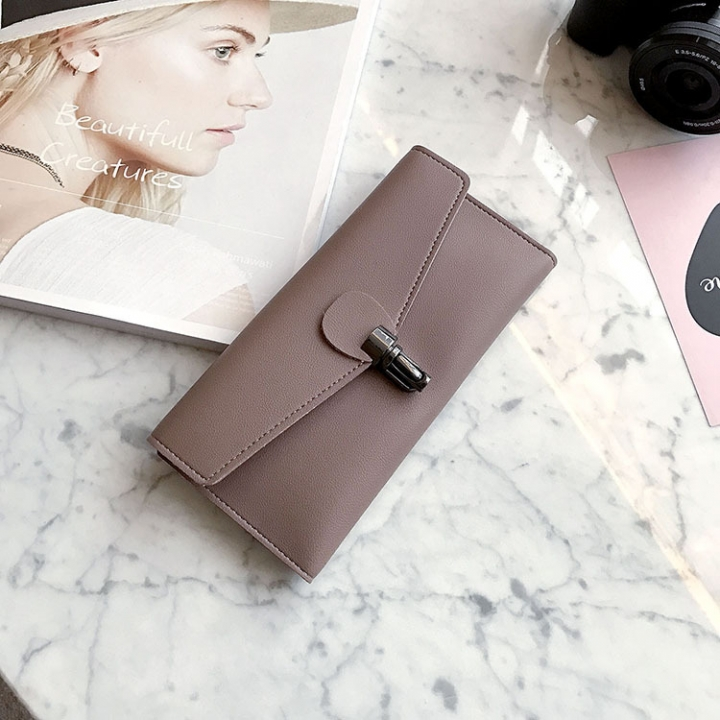 PU Leather Wallet Ms Long Section Fashion Personality Ultra Thin Simple Soft Skin Buckle Wallet dark pink one size