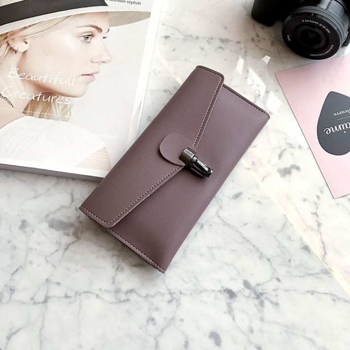 PU Leather Wallet Ms Long Section Fashion Personality Ultra Thin Simple Soft Skin Buckle Wallet dark purple one size