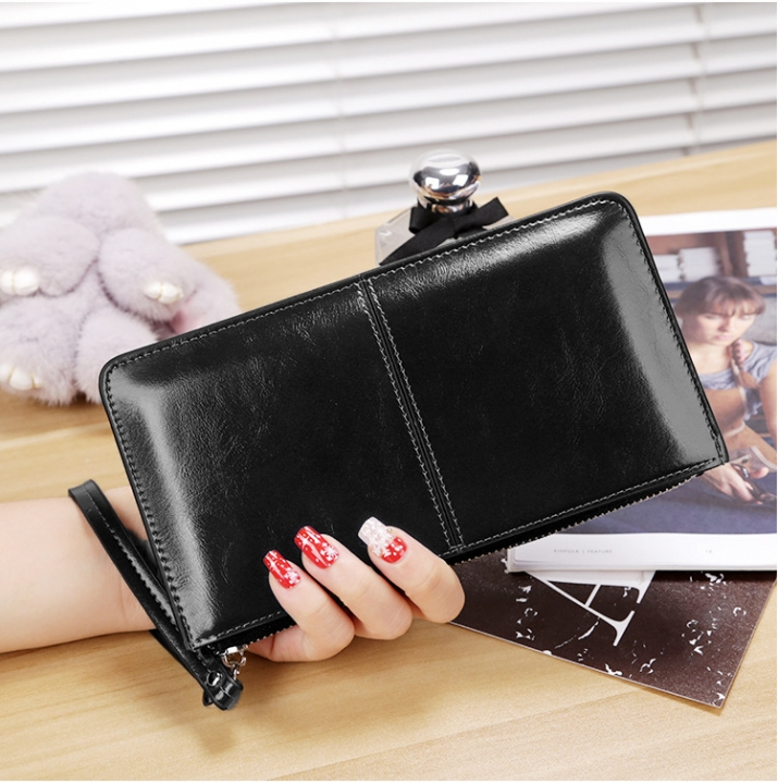Ms Oil Skin Wallet Long Section Wallet High Capacity Fashion Leisure Hand Bag black one size