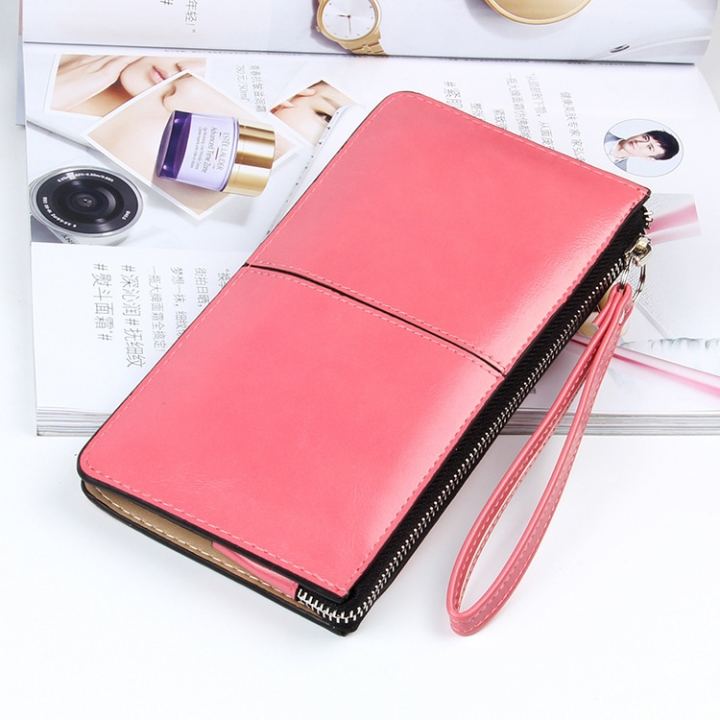 Ms Oil Skin Wallet Long Section Wallet High Capacity Fashion Leisure Hand Bag watermelon red one size
