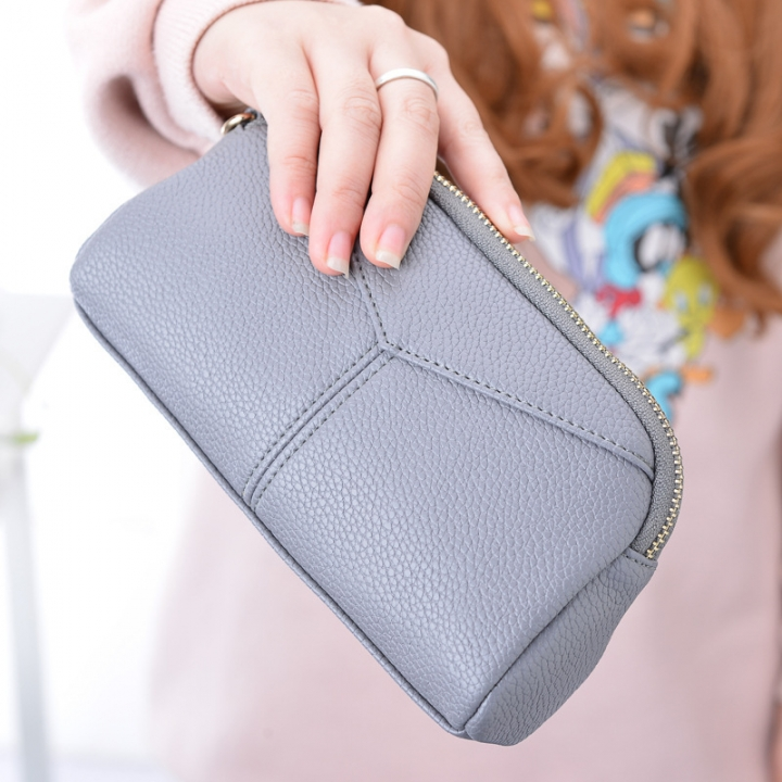 The New Ms High Capacity Hand Bag Multifunction Multi-card Bit Fashion Leisure Wallet' gray one size