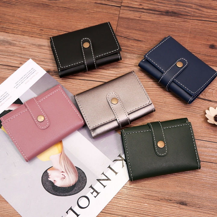 Wallet Female Short Section Multi-card Bit Wallet Western Style Fashion Buckle Coin Purse pink one size