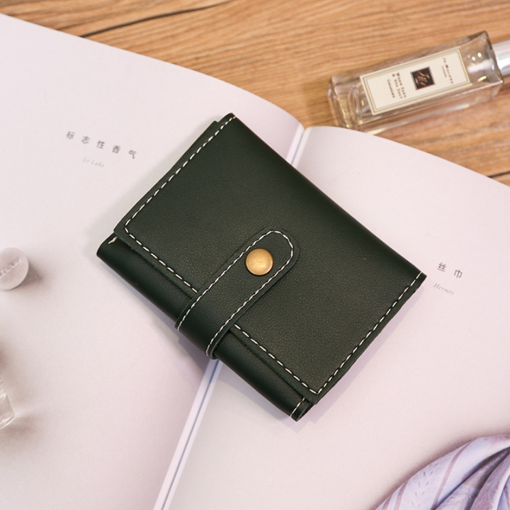 Wallet Female Short Section Multi-card Bit Wallet Western Style Fashion Buckle Coin Purse green one size