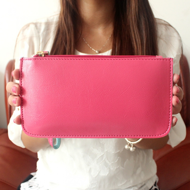 The New Oil Skin Hand Bag Candy Colors Mobile Phone Coin Purse Ms Fashion Simple Wallet rose red one size