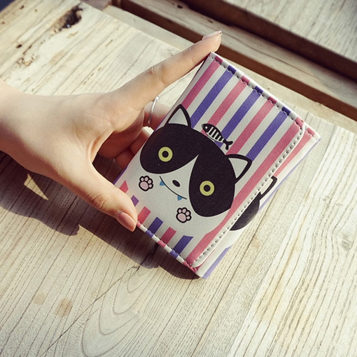 The New Cartoon Ms Short Section Wallet Card Pack Lovely Cat Fashion Coin Purse B one size