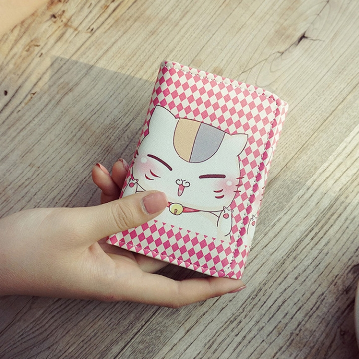 The New Cartoon Ms Short Section Wallet Card Pack Lovely Cat Fashion Coin Purse C one size