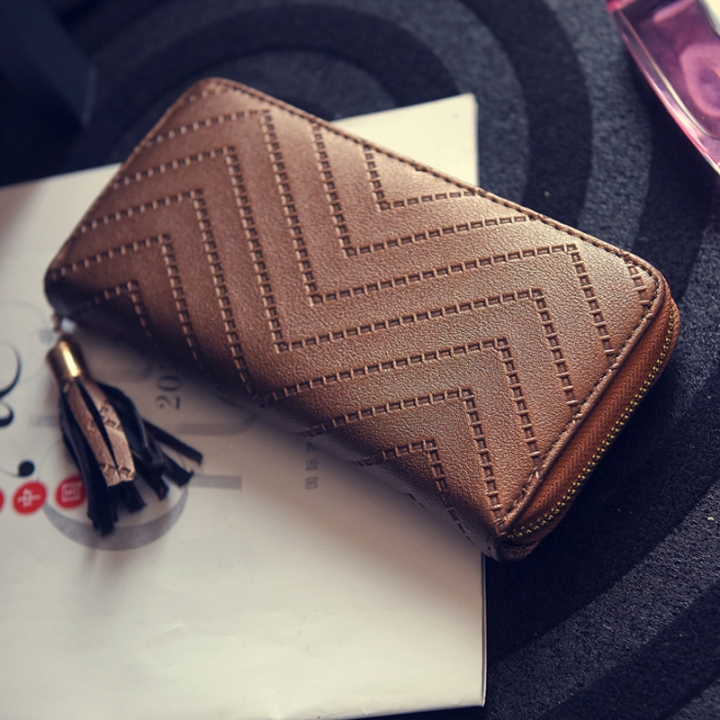 Ms Simple Personality Wallet Long Section Hand Bag Student Wallet Zipper Wallet Mobile Phone Bag brown one size