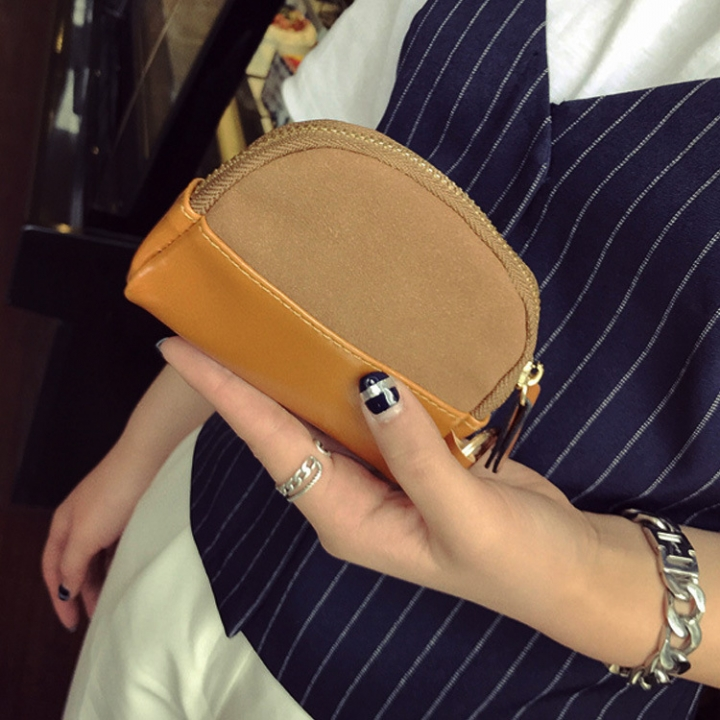 The New Retro Simple Short Section Wallet Female Western Style Zipper Coin Purse Coin Bag Key Bag brown one size
