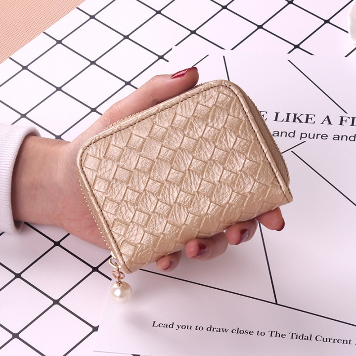Ms Small Fresh Coin Bag Simple Weave Coin Purse Zipper Small Wallet Short Section Card Pack gold one size