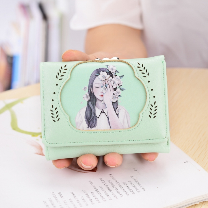 The New Ms wallet Short section fashion temperament beauty lovely trend Wallet package ligth green one size