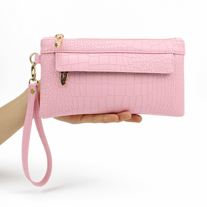 Western Style Crocodile Pattern Ms Fashion Hand Bag Female Leisure Hand Bag pink one size