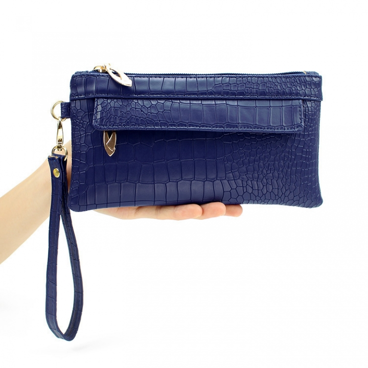 Western Style Crocodile Pattern Ms Fashion Hand Bag Female Leisure Hand Bag sapphire one size