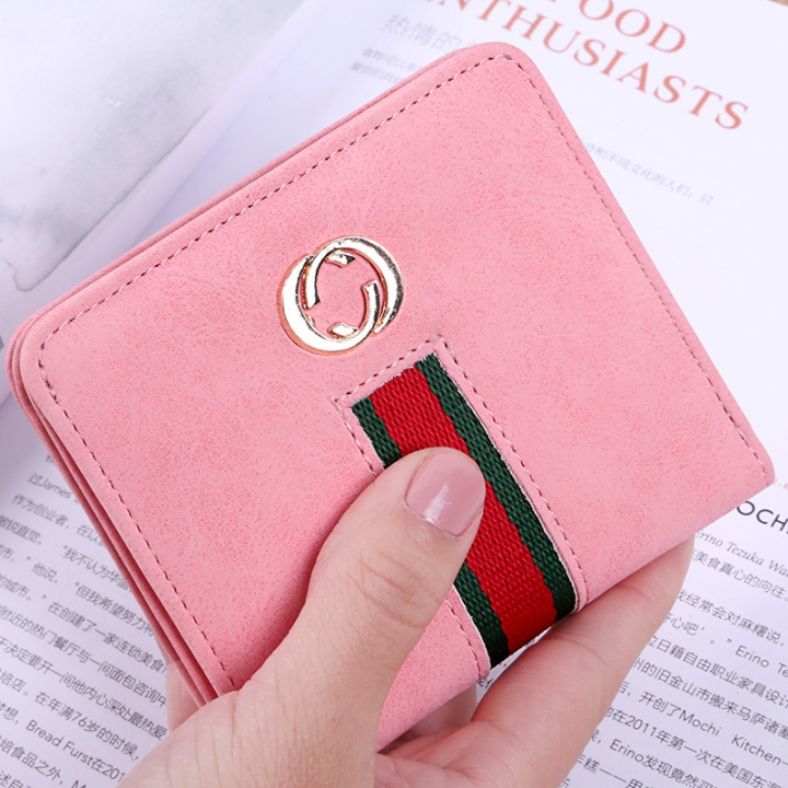 The New Wallet Ms Short Section Soft Cover Retro Mini Small Wallet Coin Purse Wallet pink one size