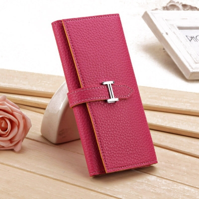 New Product Three Fold Wallet Long Section Coin Purse Fashion Ms Wallet H Buckle Hand Bag rose red one size