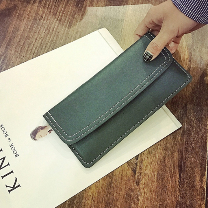 The New Ms Wallet Long Section Simple Fashion Wallet Multi-card Bit Soft Skin Coin Purse green one size