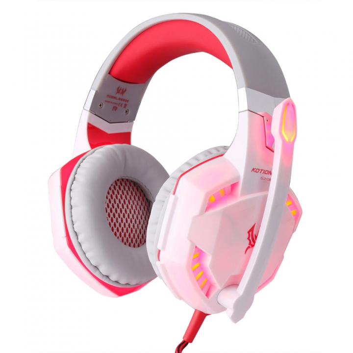 Computer Game Headphones Wearing Style Stereo Shocked Sound Quality Glowing Headset white