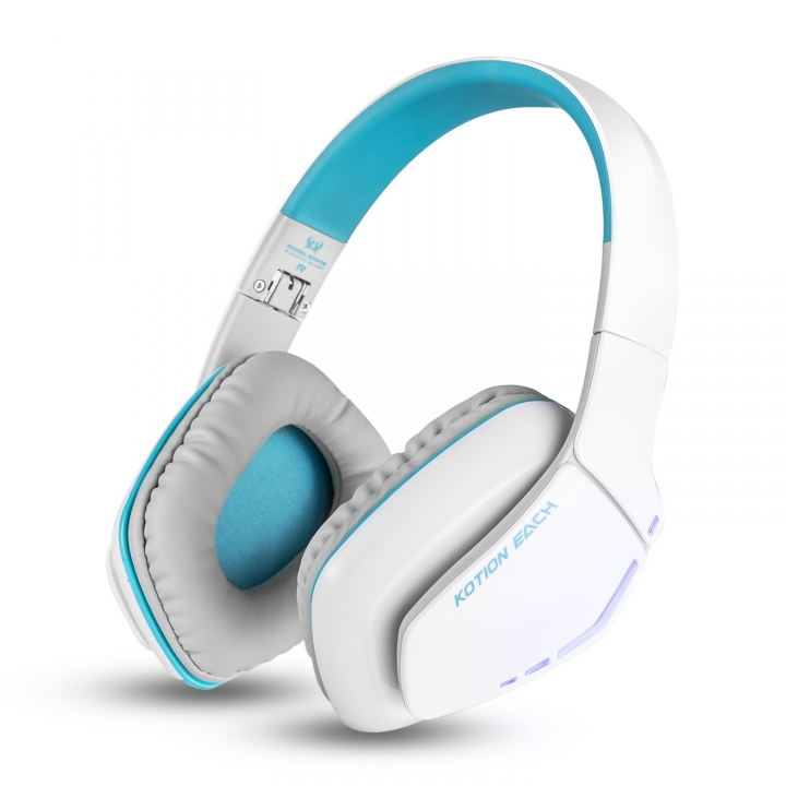 d638e2128fc Wireless Bluetooth Headset Wearing Style Subwoofer Foldable With Wheat  Stereo Headset white and blue