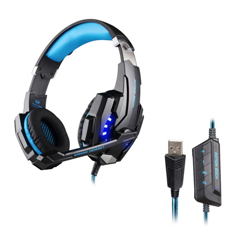Wearing style 7.1 channel With microphone notebook headset USB computer game headset black blue
