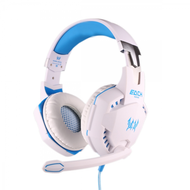Wearing a head shock Anti-noise Hyun lights Subwoofer HIFI computer game headset white