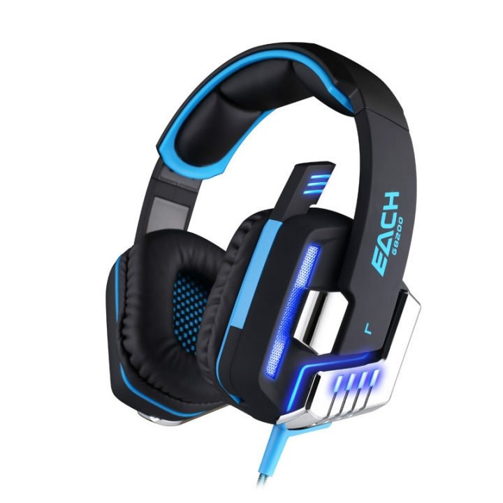 Computer Wearing Style Shock 7.1 Channel Glowing Subwoofer Game Headset black blue