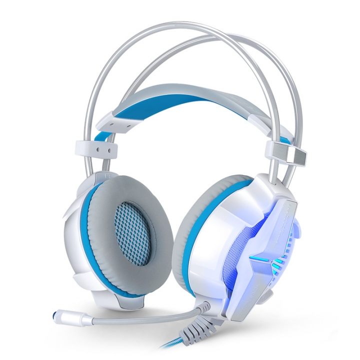 Computer Wearing Style Shock 7.1 Channel Glowing Subwoofer Gaming Game Headset white and blue