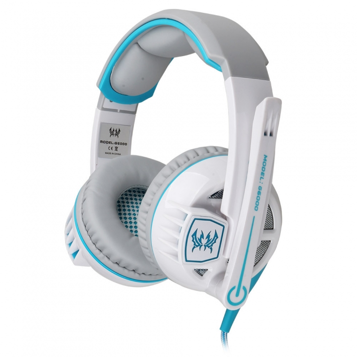 Computer Wearing Style Anti-noise Hyun Lights Glowing Stereo Gaming Game Headset white and blue