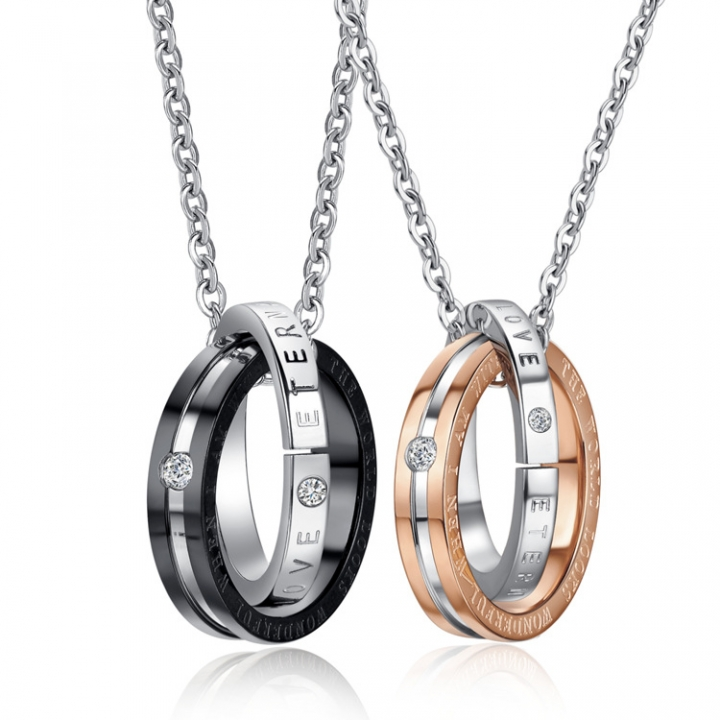 Ms Fashion Accessories Rhinestones Double Circle Titanium Seel Couple Necklace gold one size