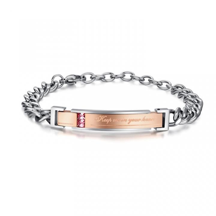 Valentine's Day Gift Mosaic Exquisite Blue Zircon Couple Titanium Steel Bracelet gold one size