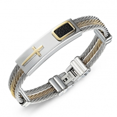 Trend Titanium Steel Male Wristband Three Rows Wire Weave   Between The Gold Bracelet Wristband gold one size