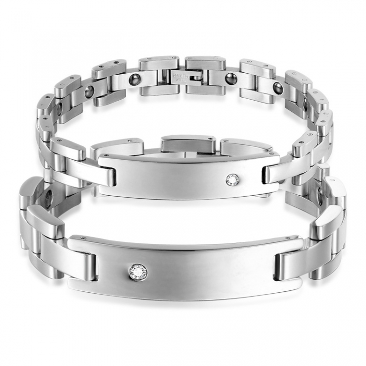 Valentine's Day Fashion Gift Accessories Rhinestones With Magnetic Couple Titanium Steel Bracelet silver ms