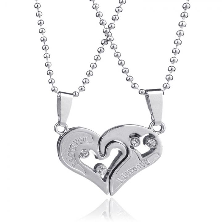 Heart Phase Print Couple Necklace Titanium Steel Pendant Fashion Men And Women Ornaments white a pair