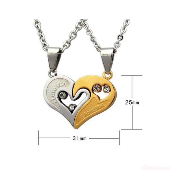 Heart Phase Print Couple Necklace Titanium Steel Pendant Fashion Men And Women Ornaments white gold a pair