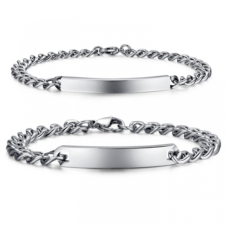 The New Accessories Jewelry Fashion Trend Streamline Smooth Couple Titanium Steel Bracelet silver ms