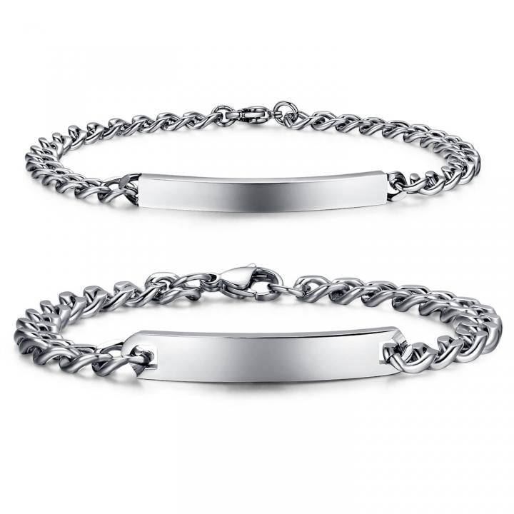 The New Accessories Jewelry Fashion Trend Streamline Smooth Couple Titanium Steel Bracelet silver men